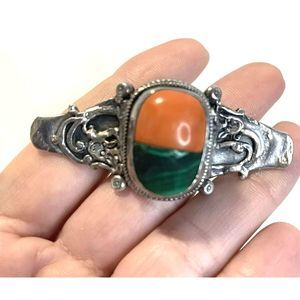 Jewelry - Vintage Malachite Coral Brooch Sterling Silver